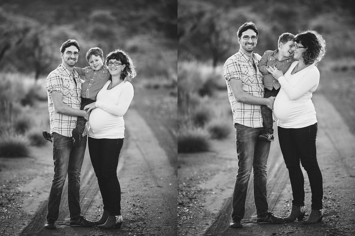 Two photos of a family of 3 with a pregnant mum standing and looking at camera and laughing at each other