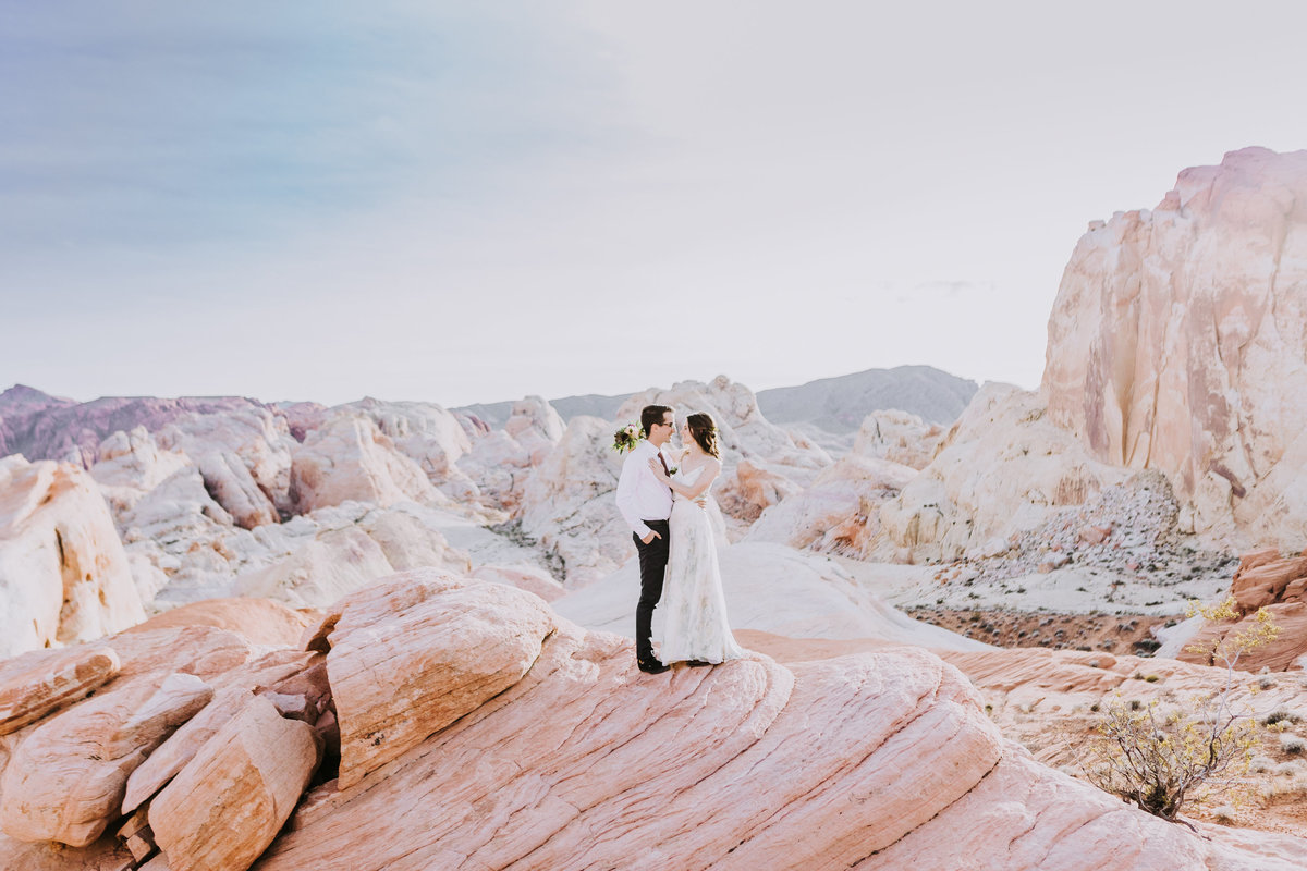 Lake Tahoe wedding photographers couple poses in front of pastel desert scene