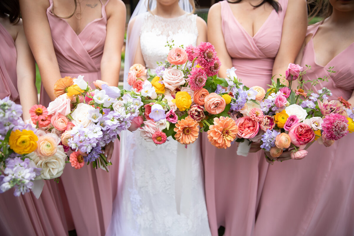 Colorful Spring Bridesmaids Bouquets
