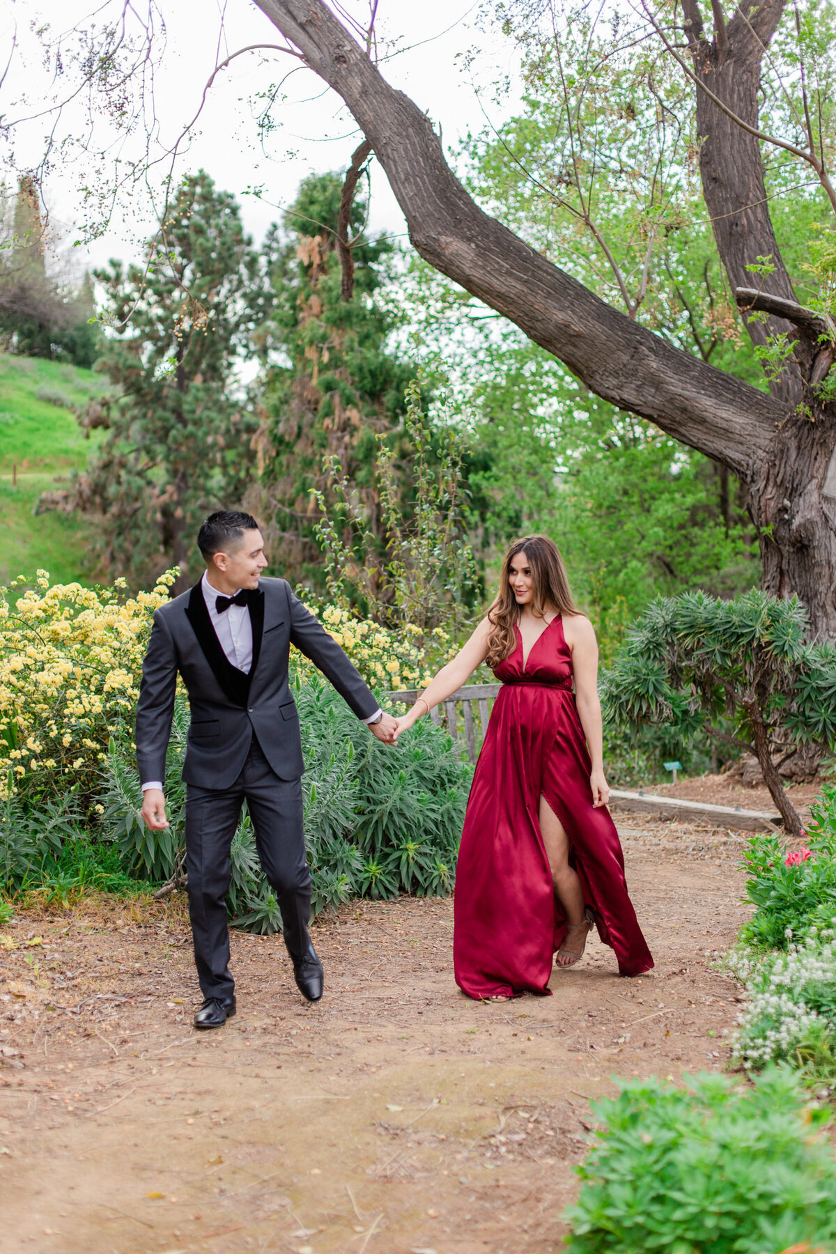 UC Riverside Botanical Gardens, Engagement Photography, Riverside Phototgrapher, Garden Engagement, Couple Photography, Red Dress-53