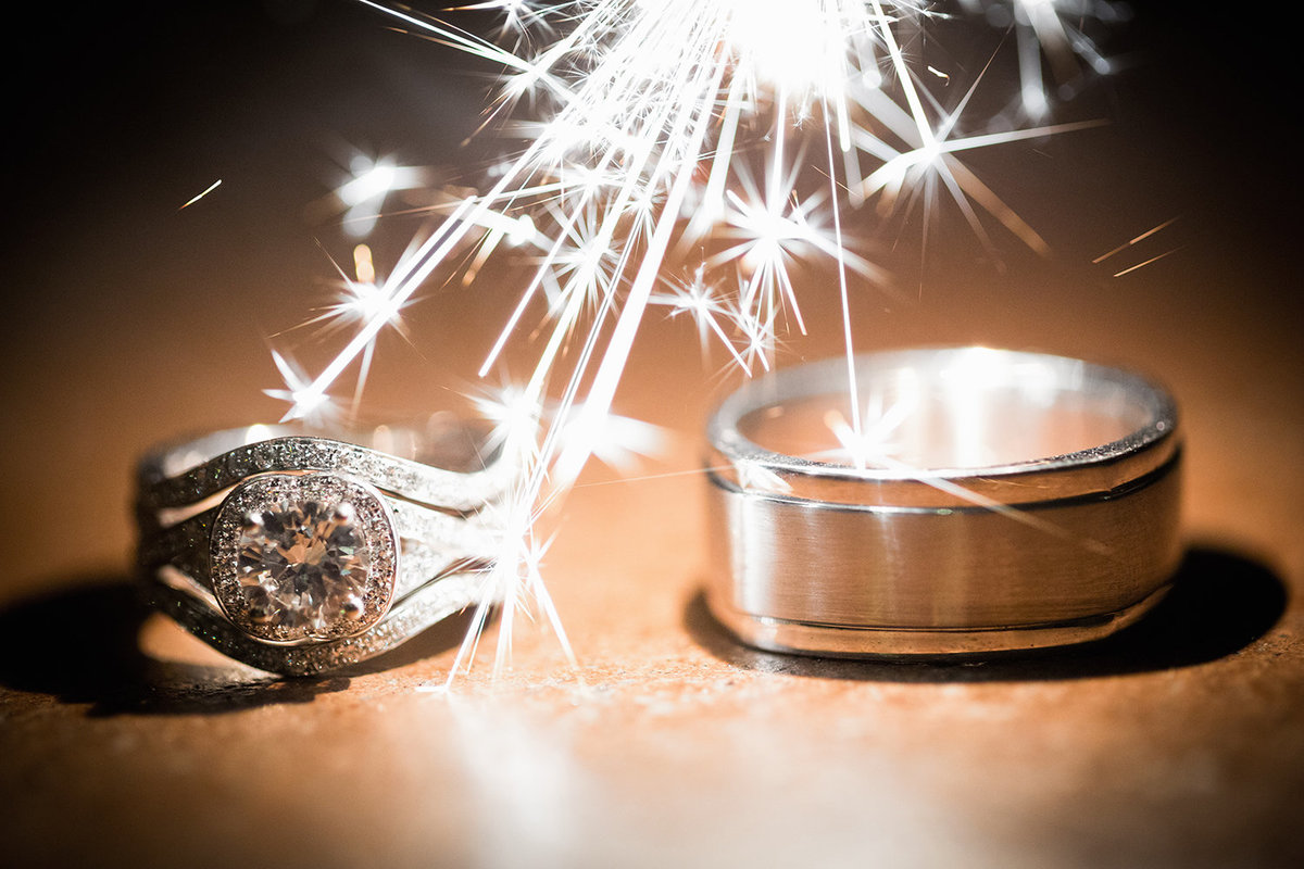 wedding photos rings closeup with sparklers