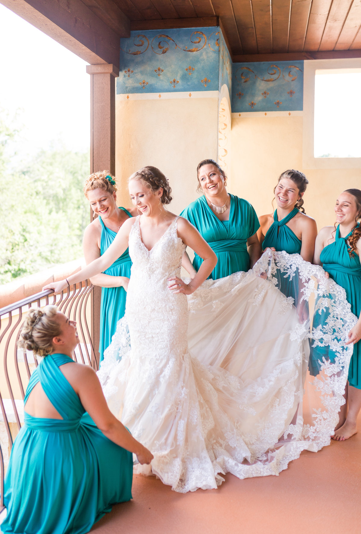 Purple & Teal Villa Nove Vineyards Summer Wedding-133
