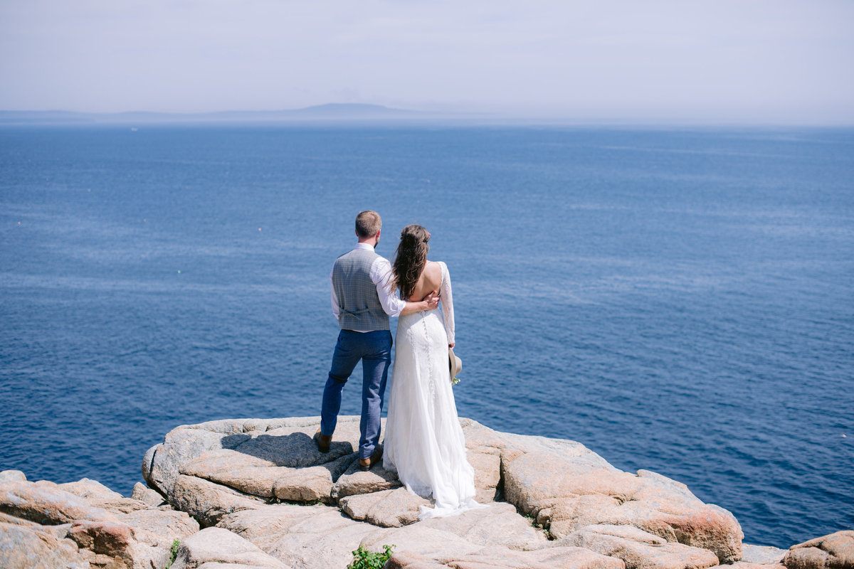 Couple enjoying the view in Acadia National Park during their elopement