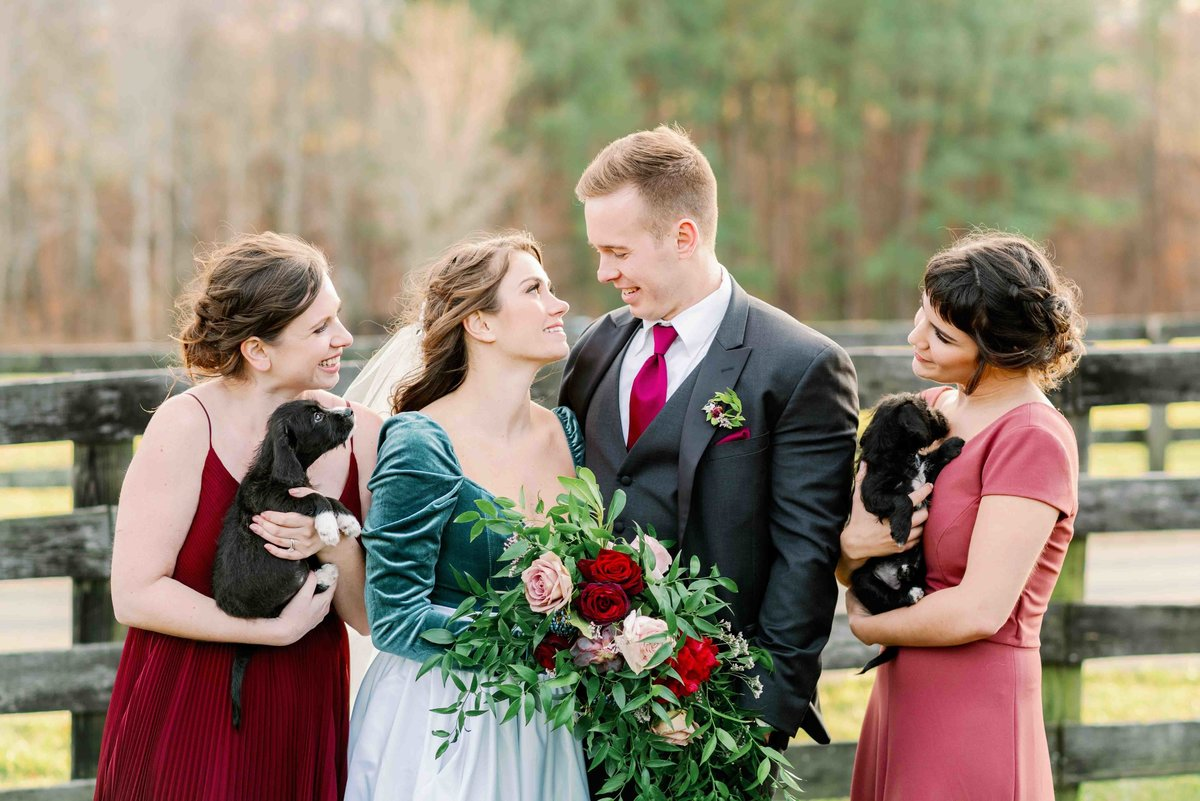 bridal party holding puppies instead of lfowers for wedding celebration in virginia