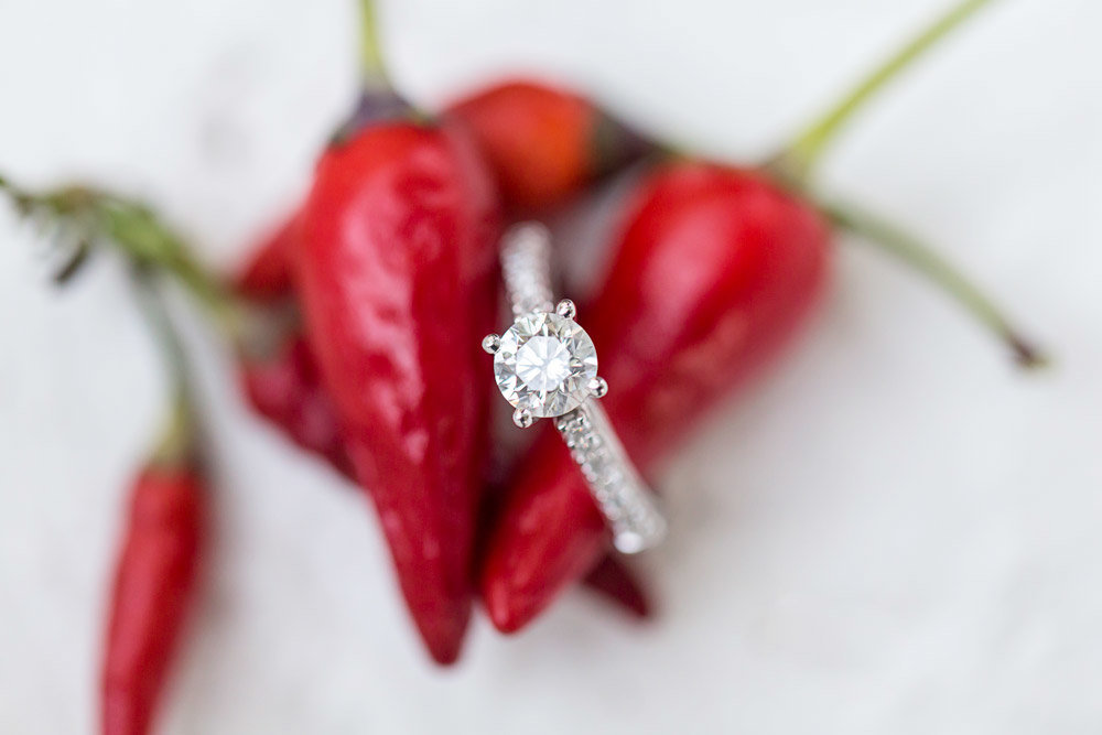 Engagement ring with red peppers