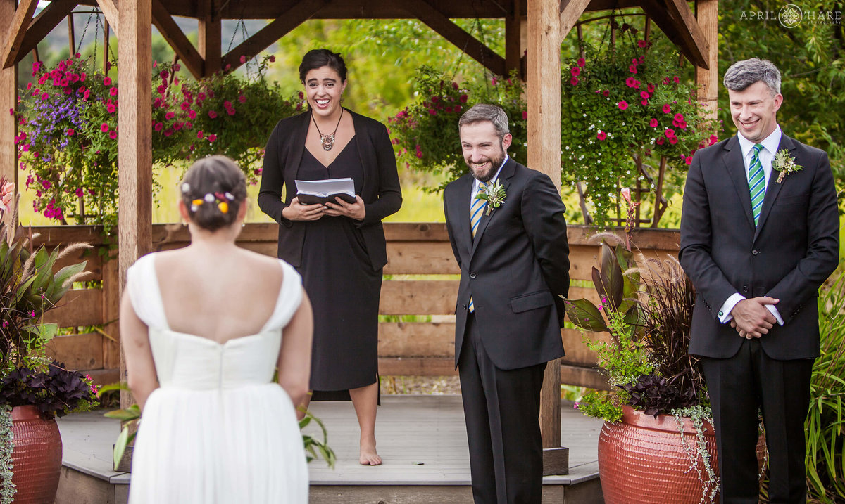 First Look Wedding Ceremony at Denver Botanic Gardens Chatfield Farms in Littleton Colorado