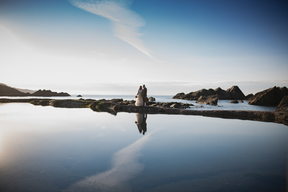 Tidal Pools wedding p hoto at Tunnels Beaches in Devon