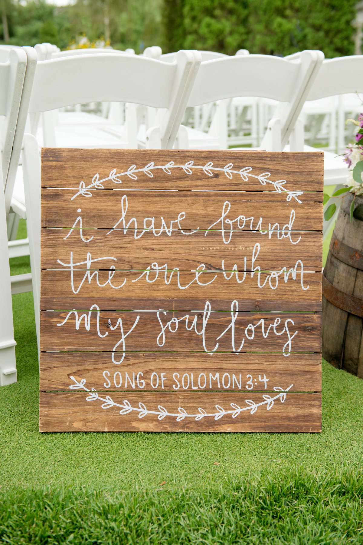 ceremony stationary sign from wedding at Willow Creek Golf and Country Club wedding
