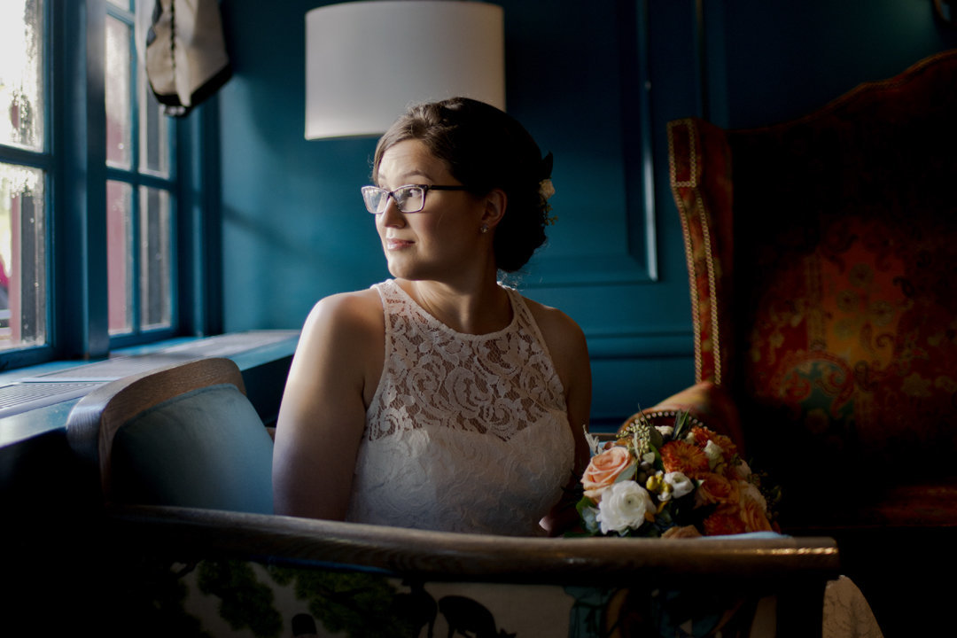 Dark and Moody Bridal Portrait at The Alexandrian in Alexandria, VA