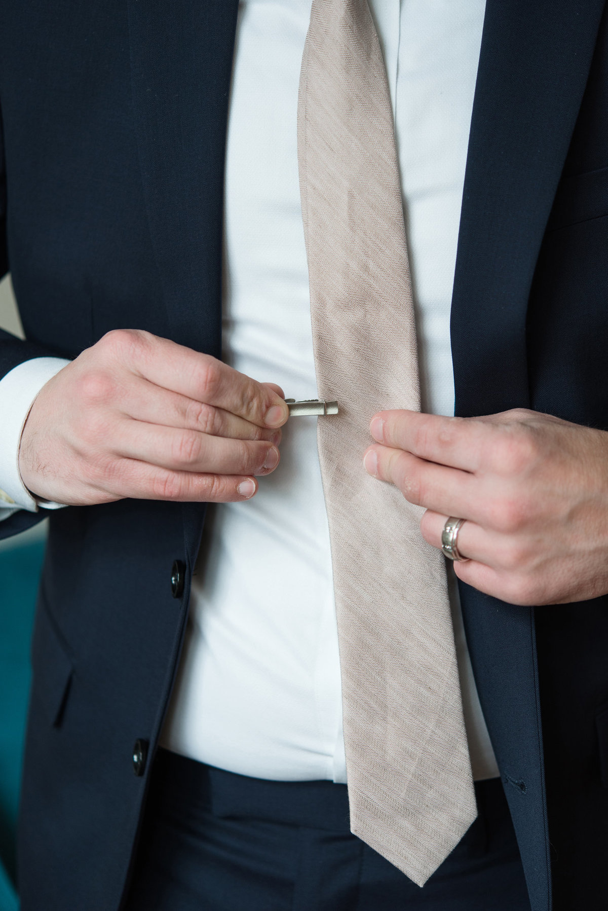 vintage tie bar getting ready portrait