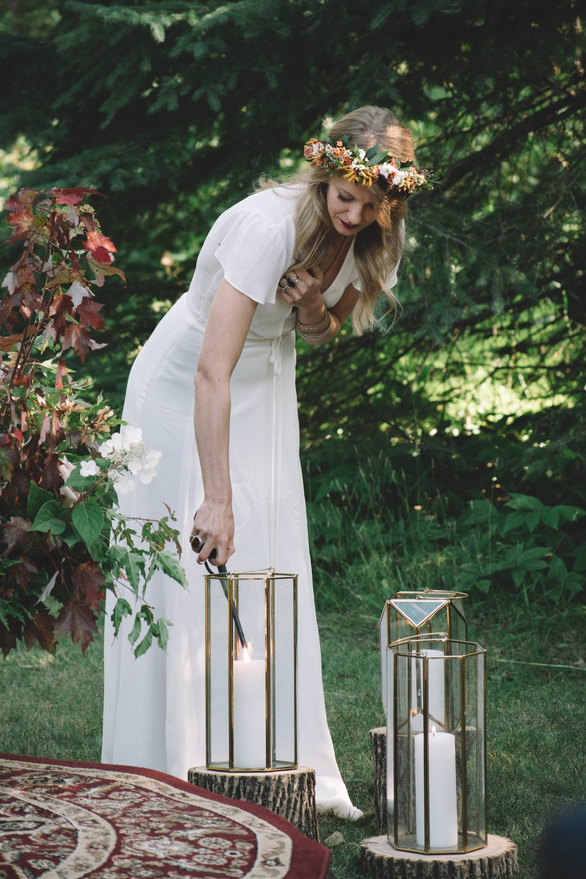 boho floral crown, geometric lanterns