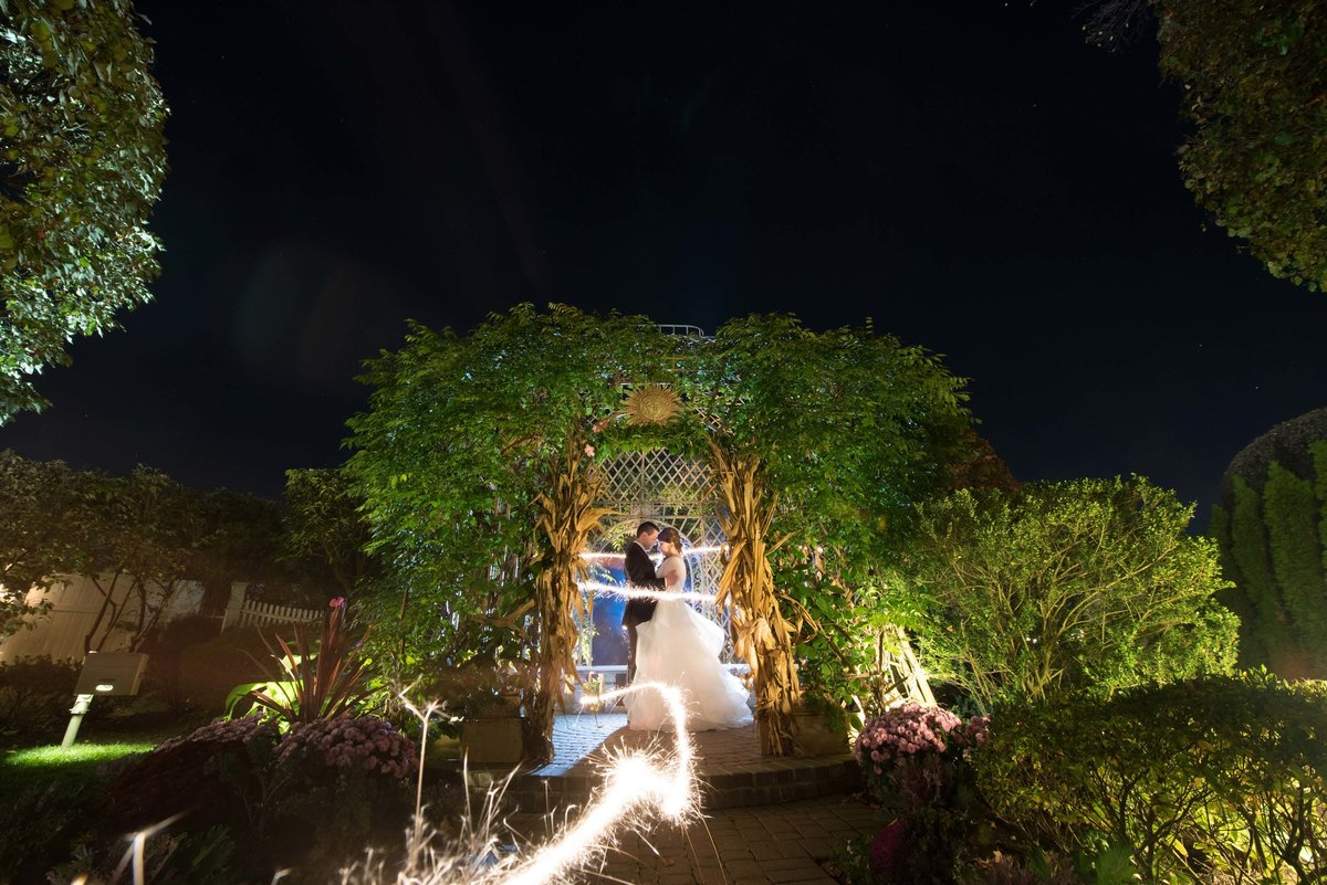 Sparkler wedding photo at Watermill Caterers