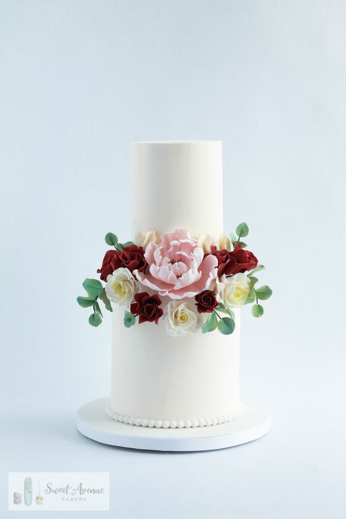 two tier white buttercream wedding cake  with sugar flowers, Hamilton ON wedding cakes