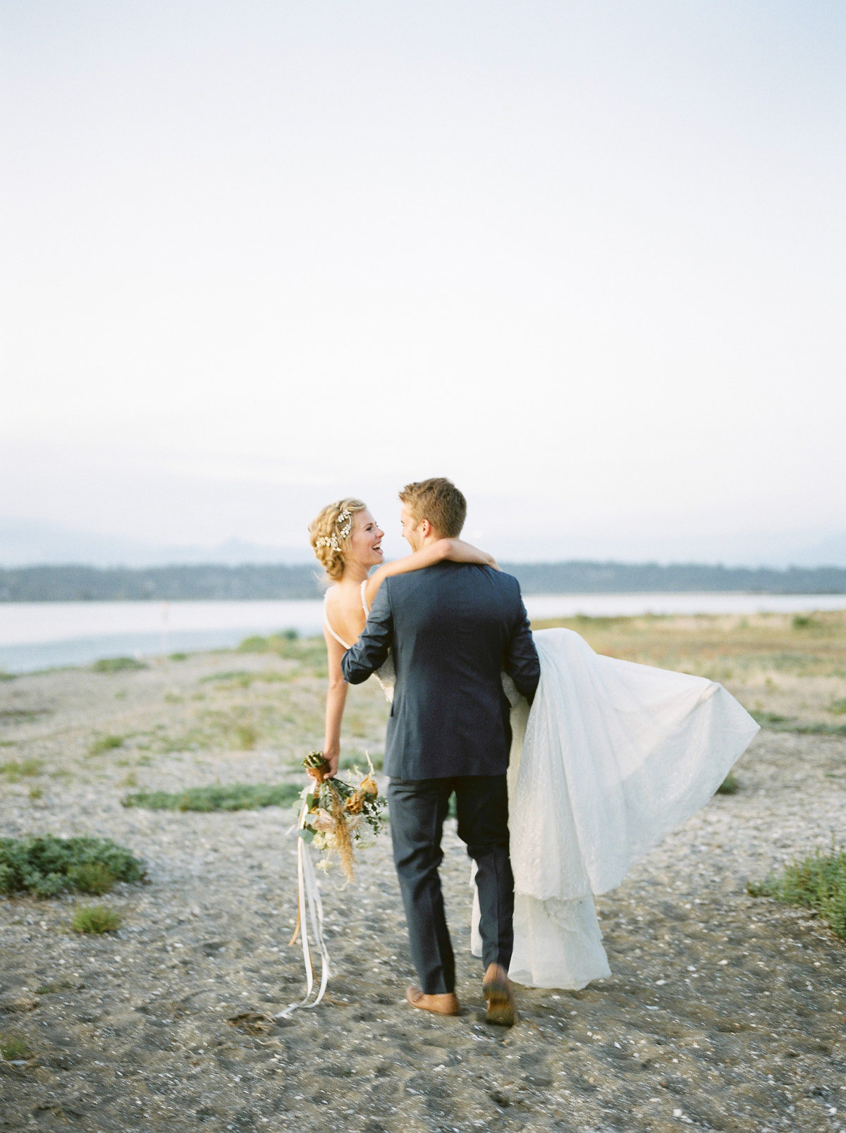 blue wedding dress beach wedding vancouver