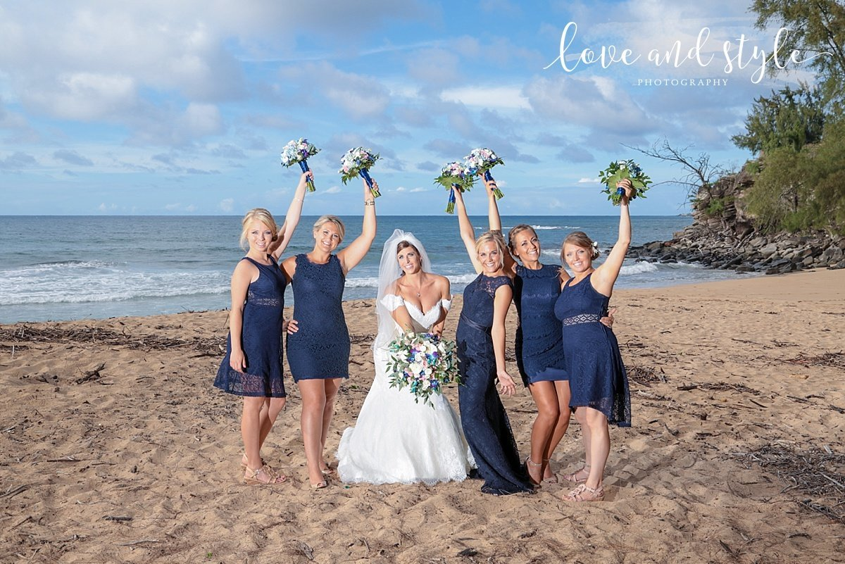 Sarasota-Bradenton Wedding Photography on the beach of the  bride with her bridesmaids