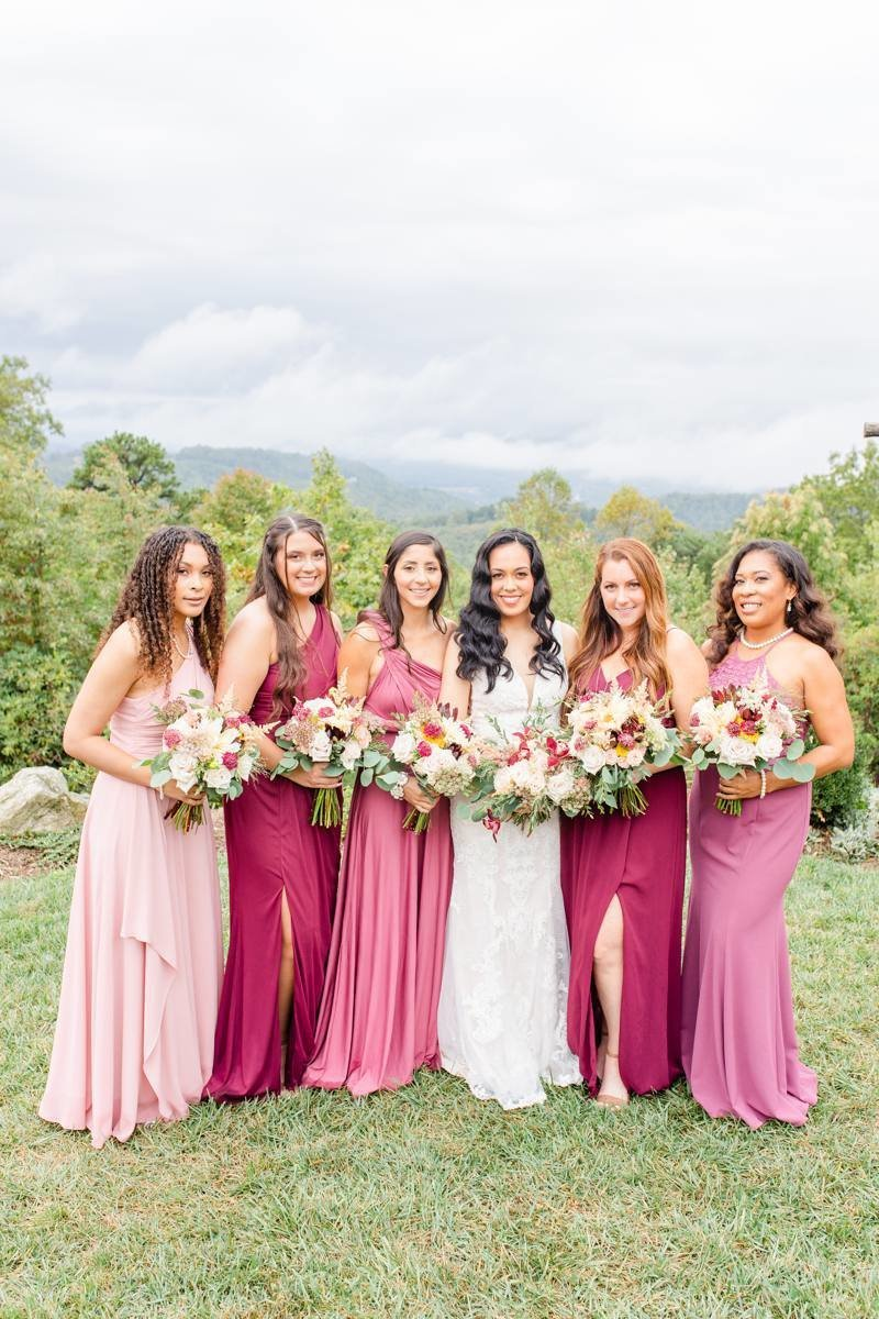 pink-and-magenta-bridesmaid-dresses