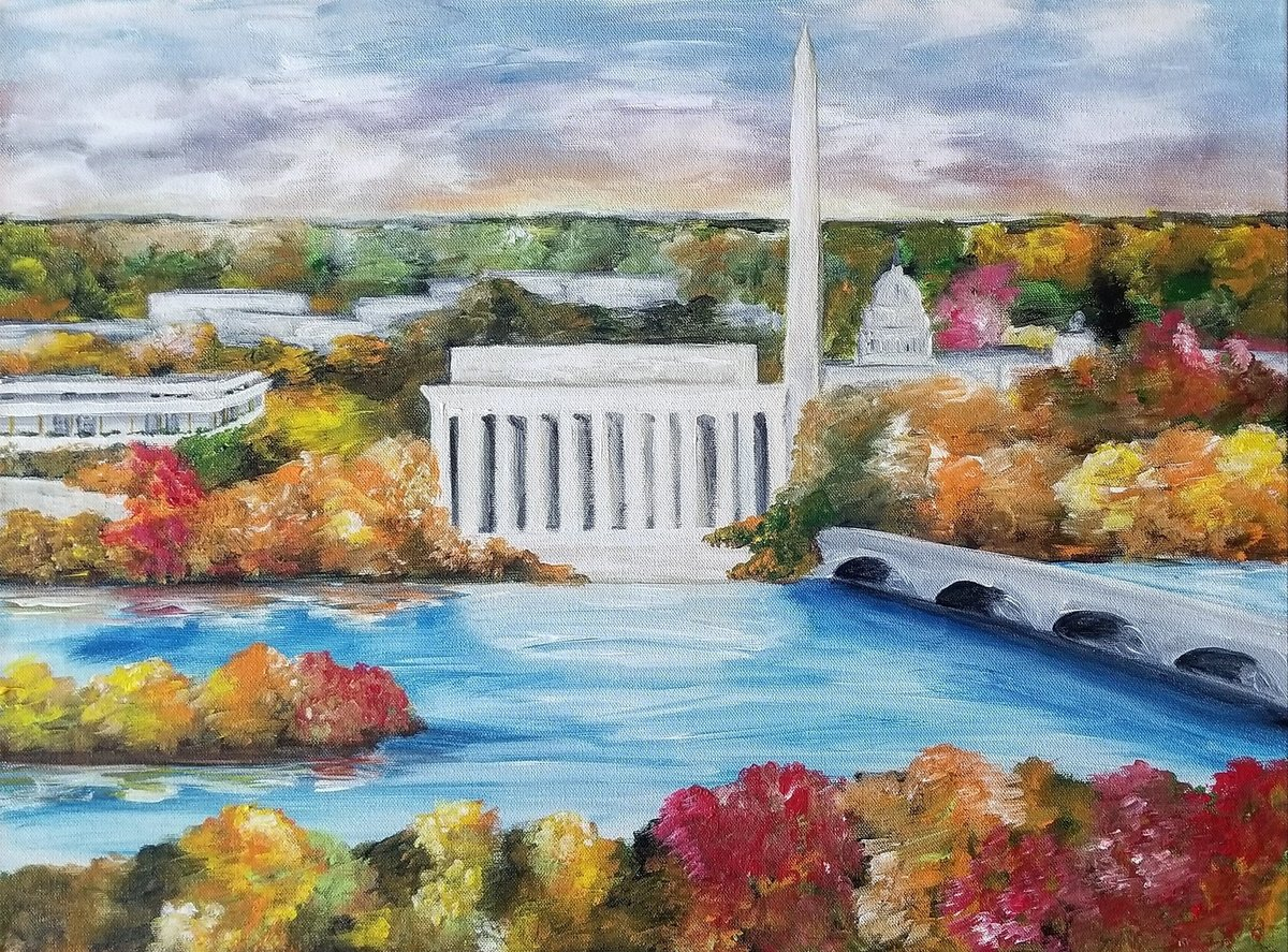 Live event painting from corporate holiday party featuring Washington DC skyline with Lincoln Memorial and Washington Monument