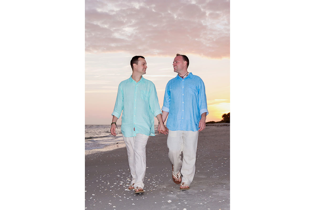 casa ybel sanibel sunset same sex wedding photo