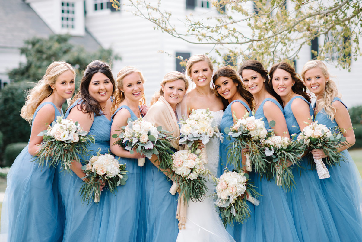 Pre-ceremony photo with bridesmaids at Pine Lakes Country Club in Myrtle Beach by wedding photographer Pasha Belman