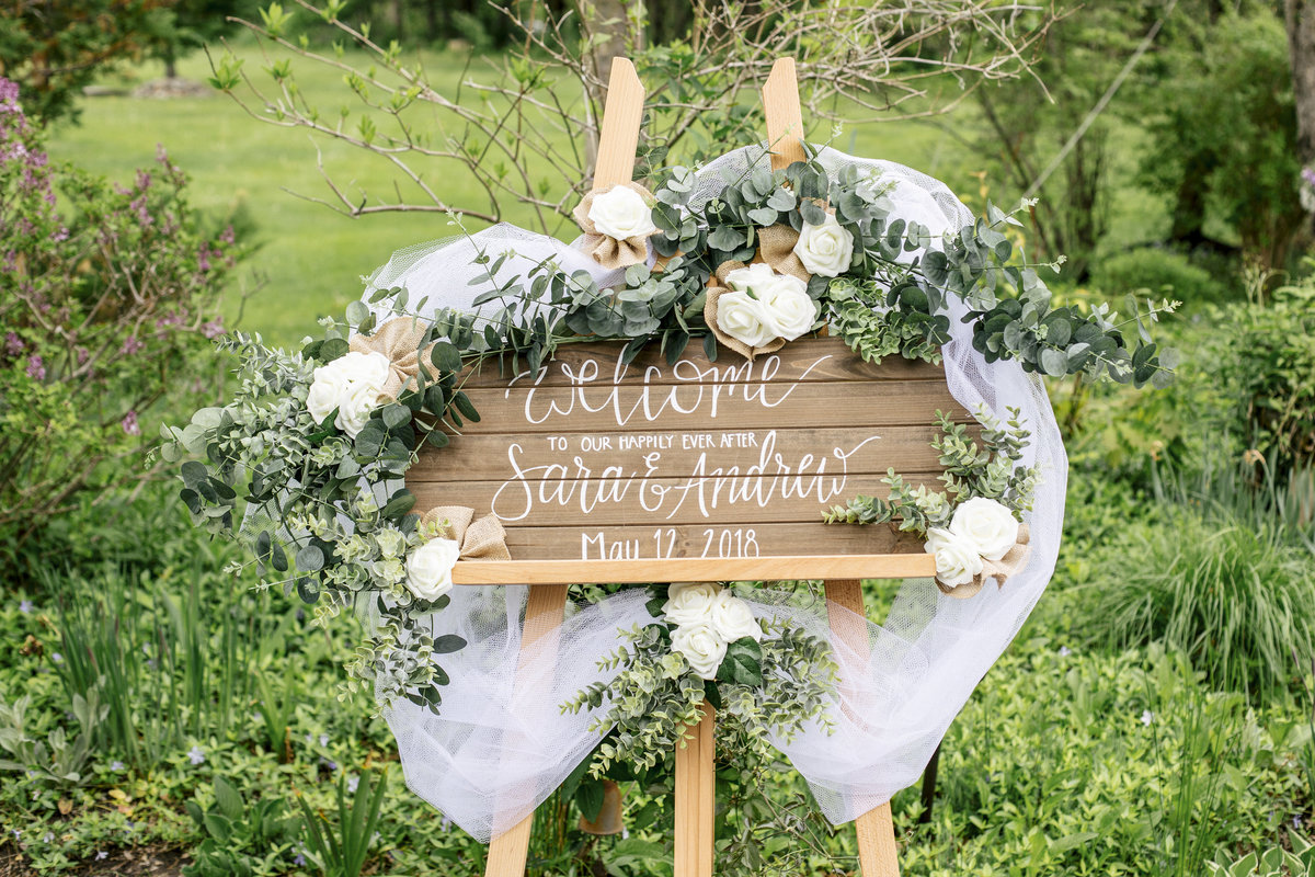 custom wooden welcome sign for backyard wedding