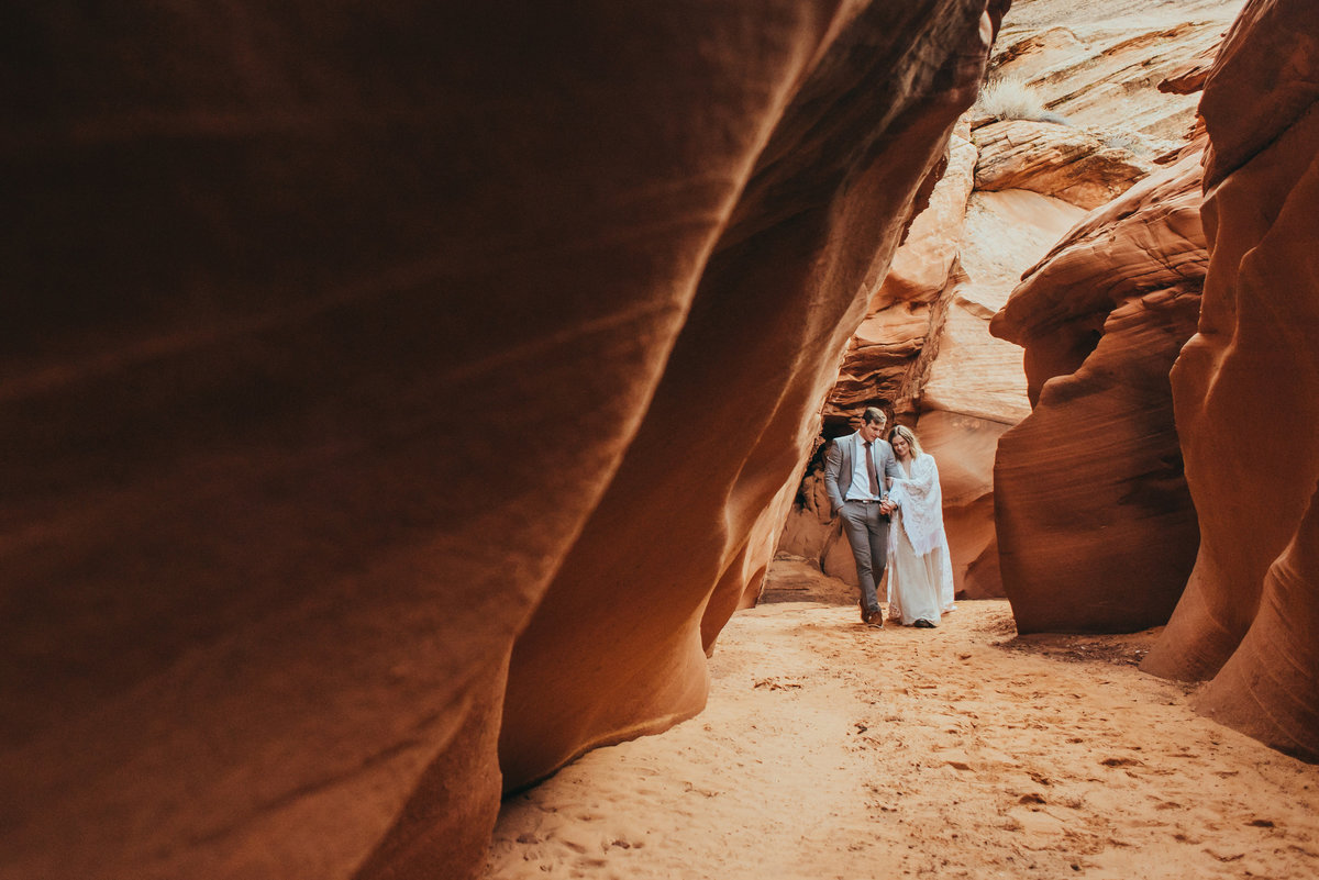 Couple elopes in Page Arizona Slot Canyon