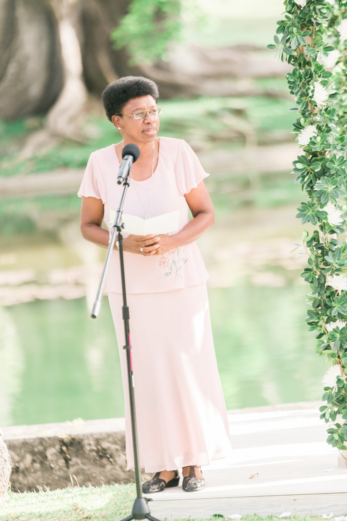 Reading at wedding ceremony, Barbados destination wedding