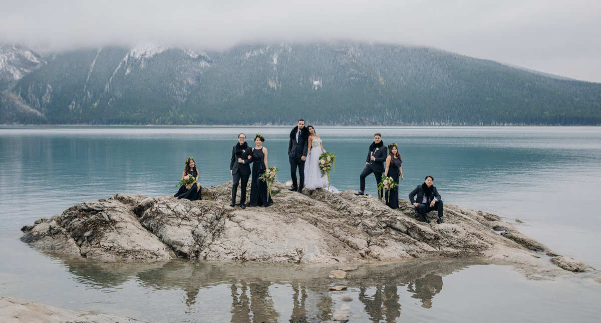 boho banff wedding bridal party photos