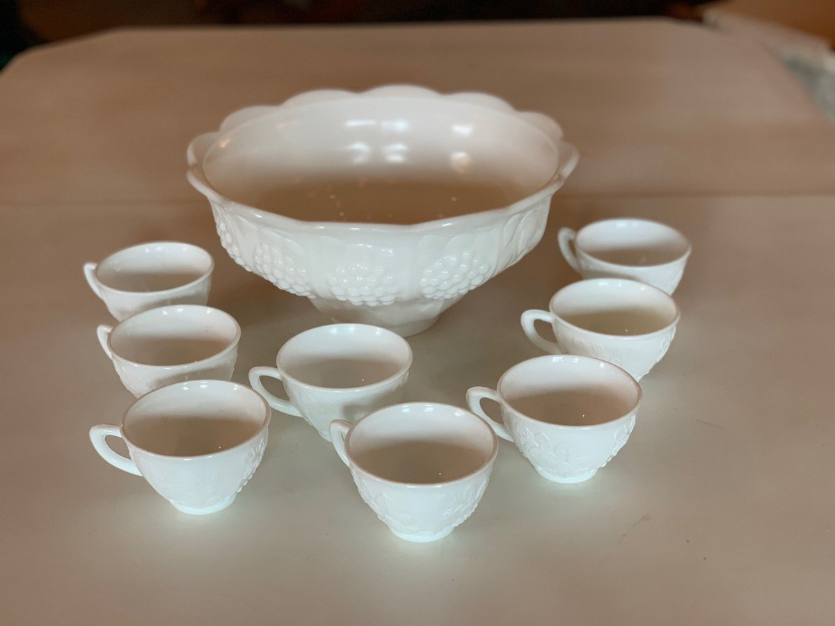 milk glass punch bowl