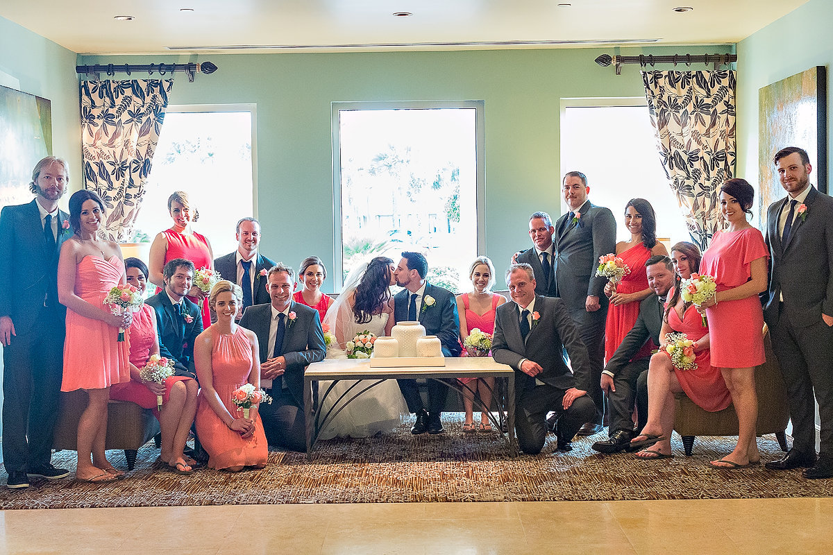 Large bridal party photograph