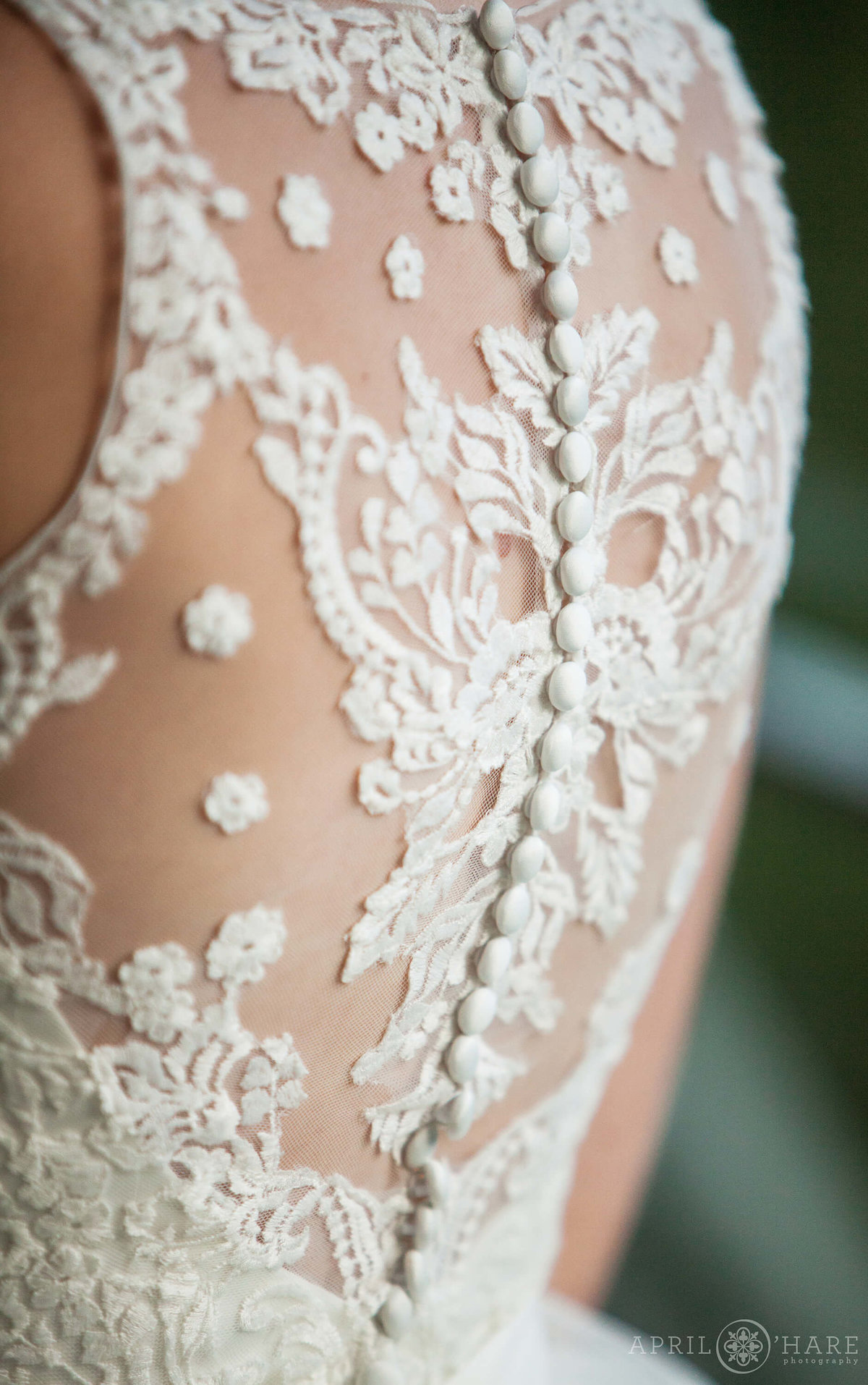 Stunning sheer back lace detail wedding gown from a Steamboat Springs Colorado Wedding