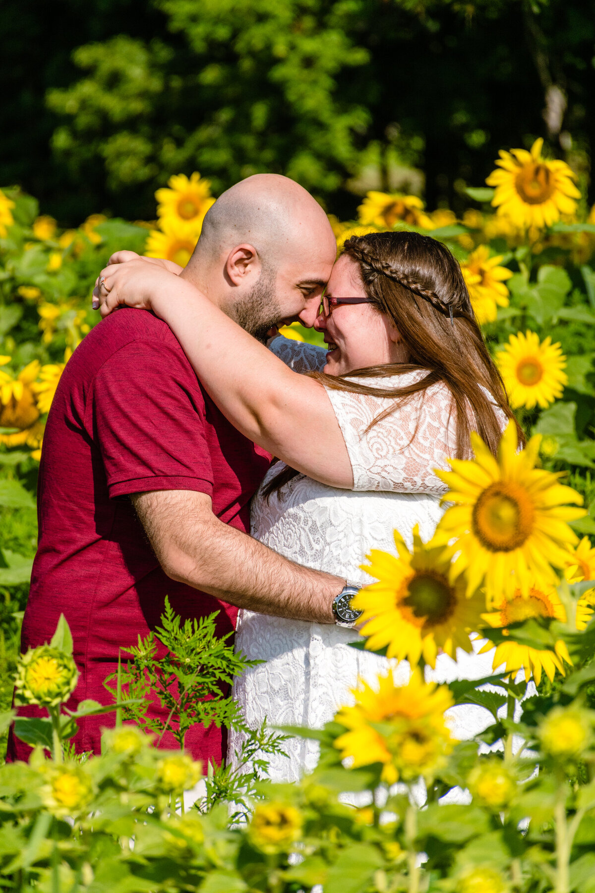Sunflower engagement session in MA