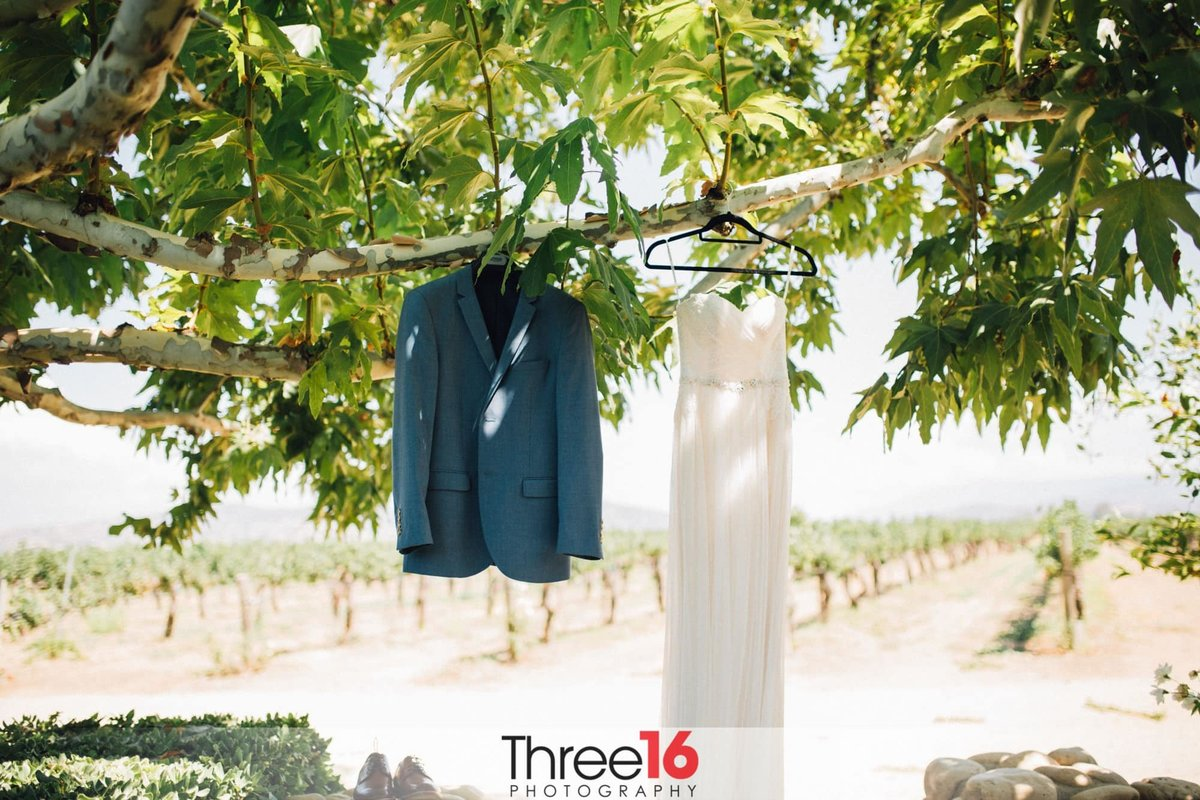 Groom jacket and Bride's dressing hanging from a tree