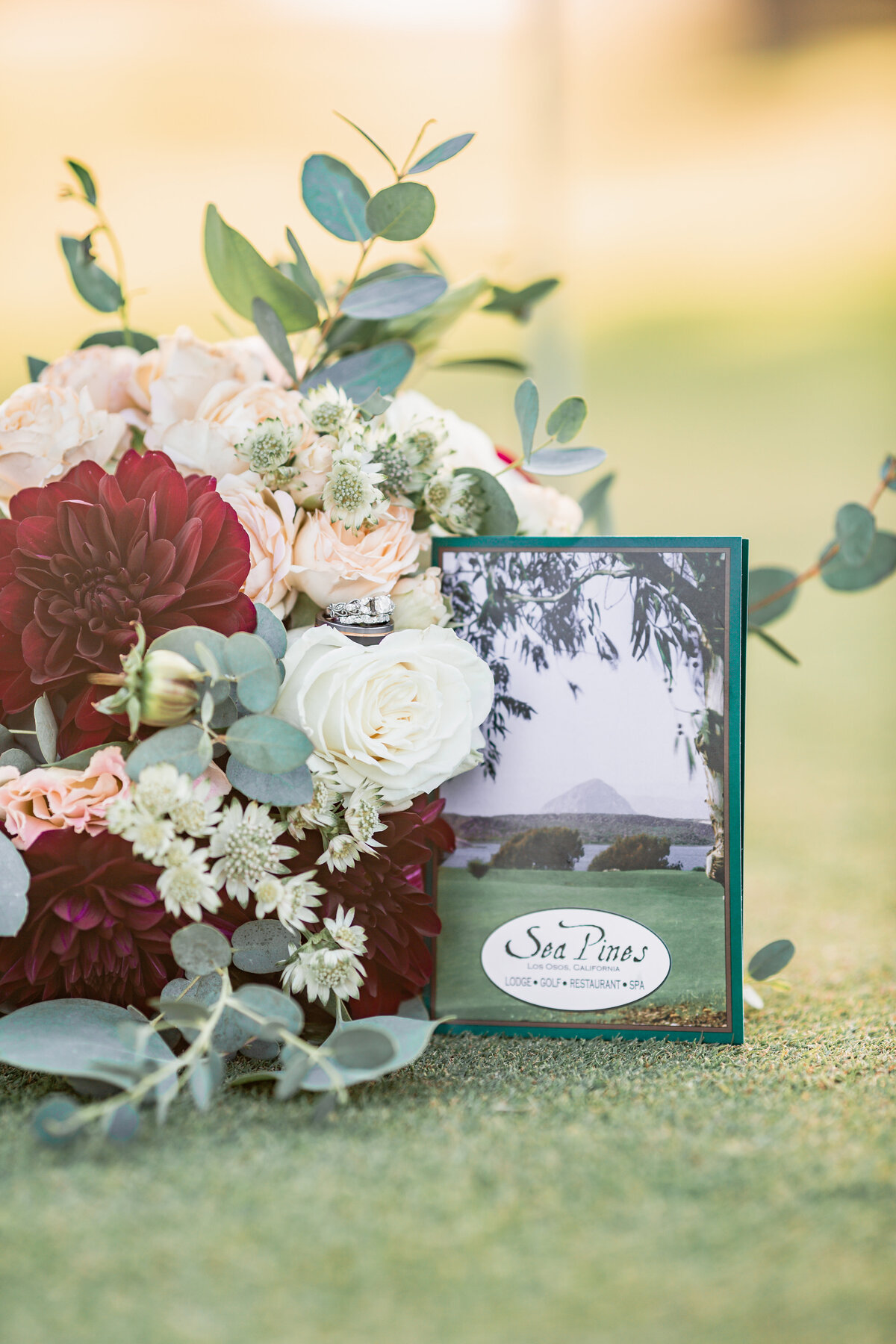 wedding bouquet on golf course