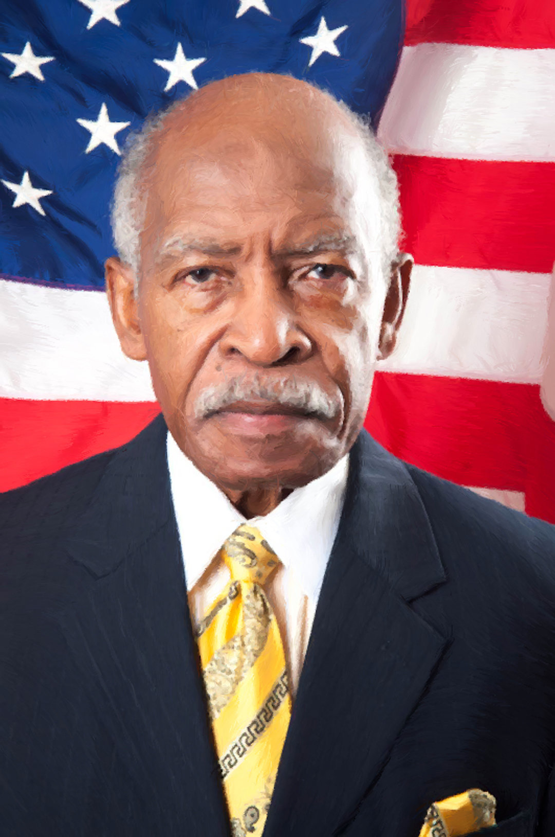 Political Business Headshot with American Flag Backdrop
