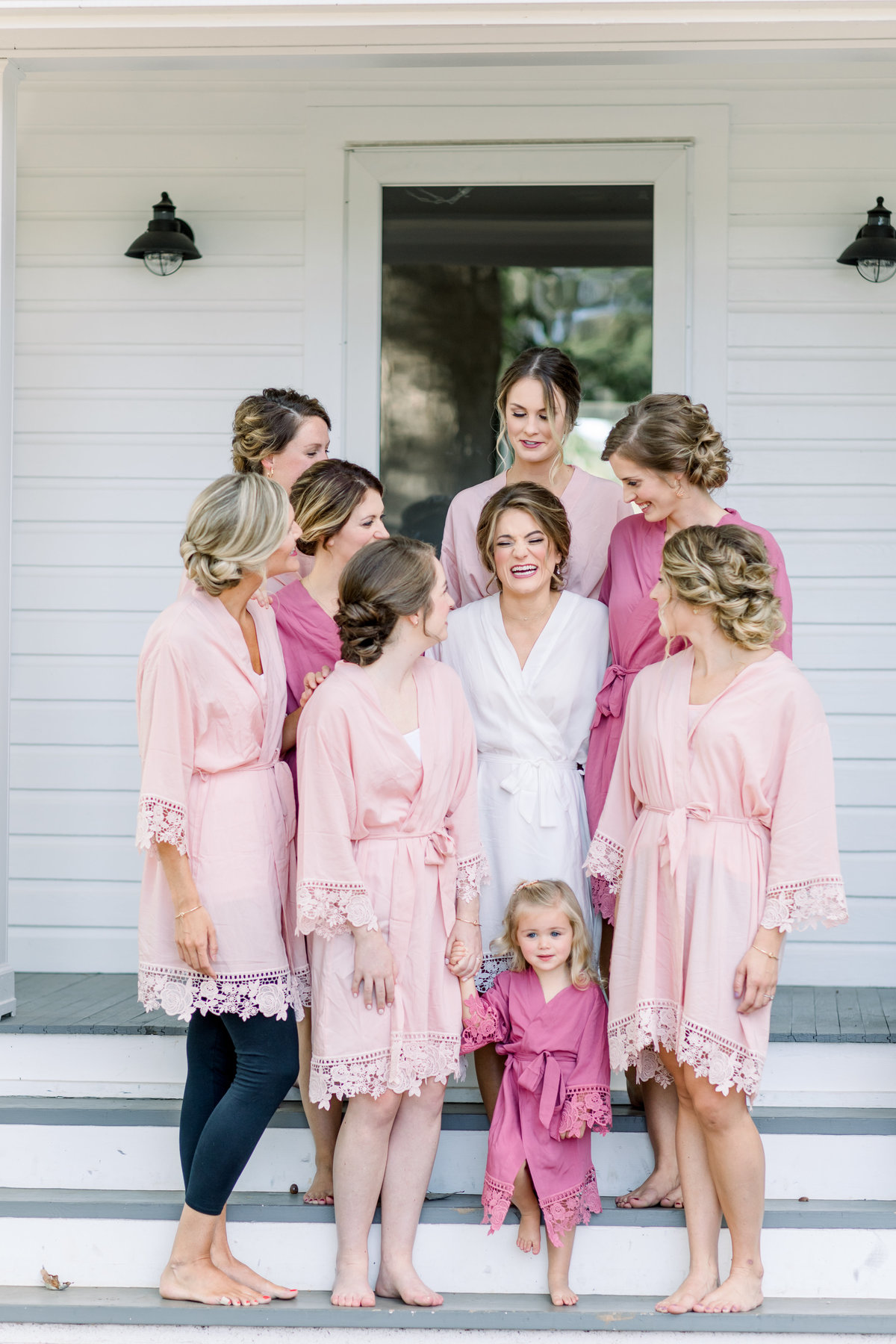 Washington DC Wedding Photography, bride and bridal party standing together in robes