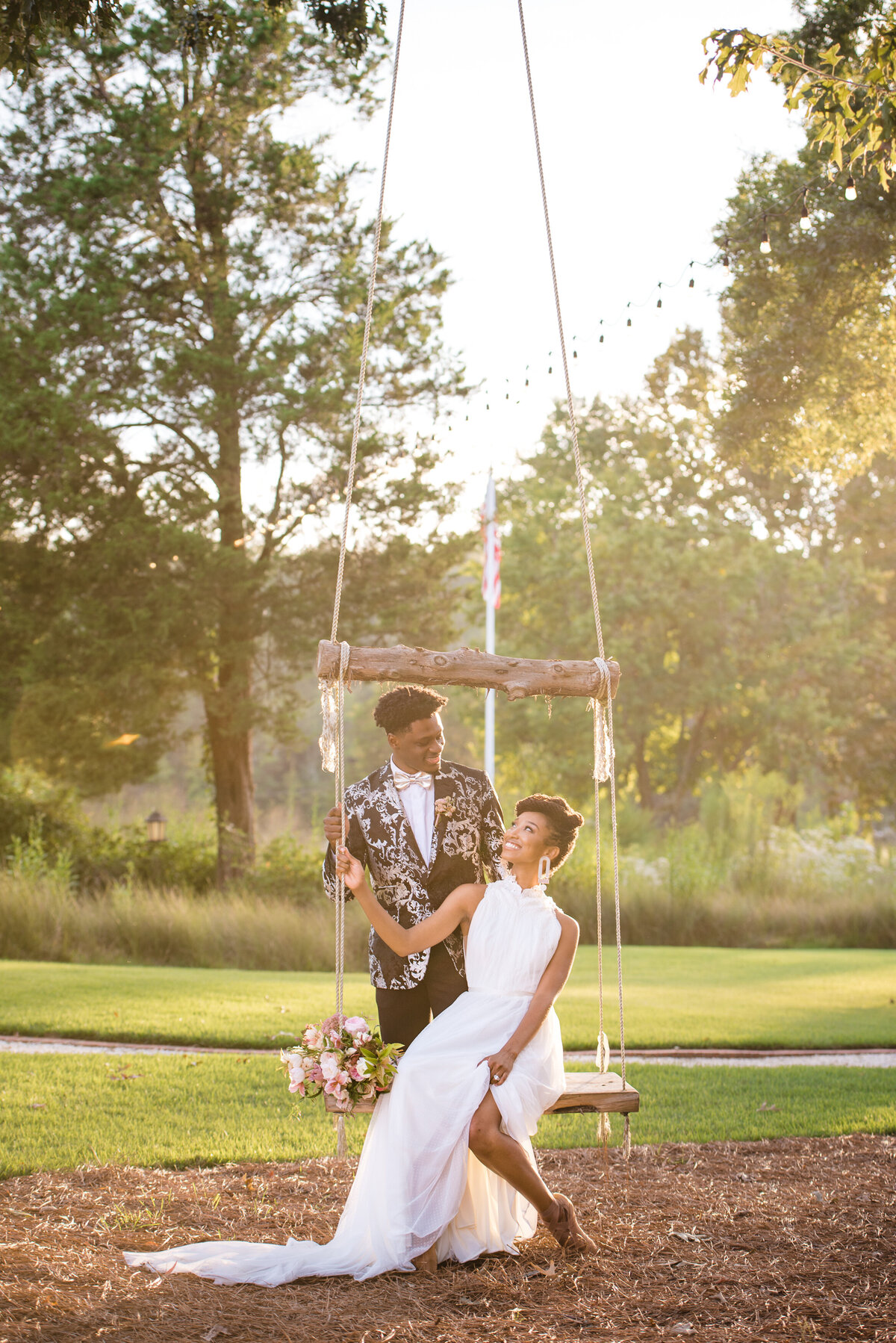 African American couple at swing