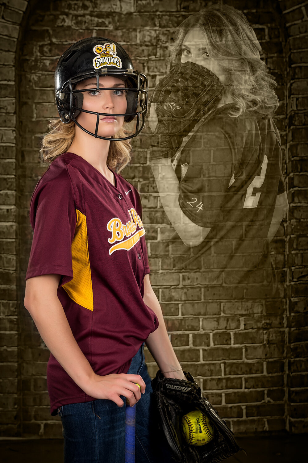 indoor studio, broad run high school senior girl softball