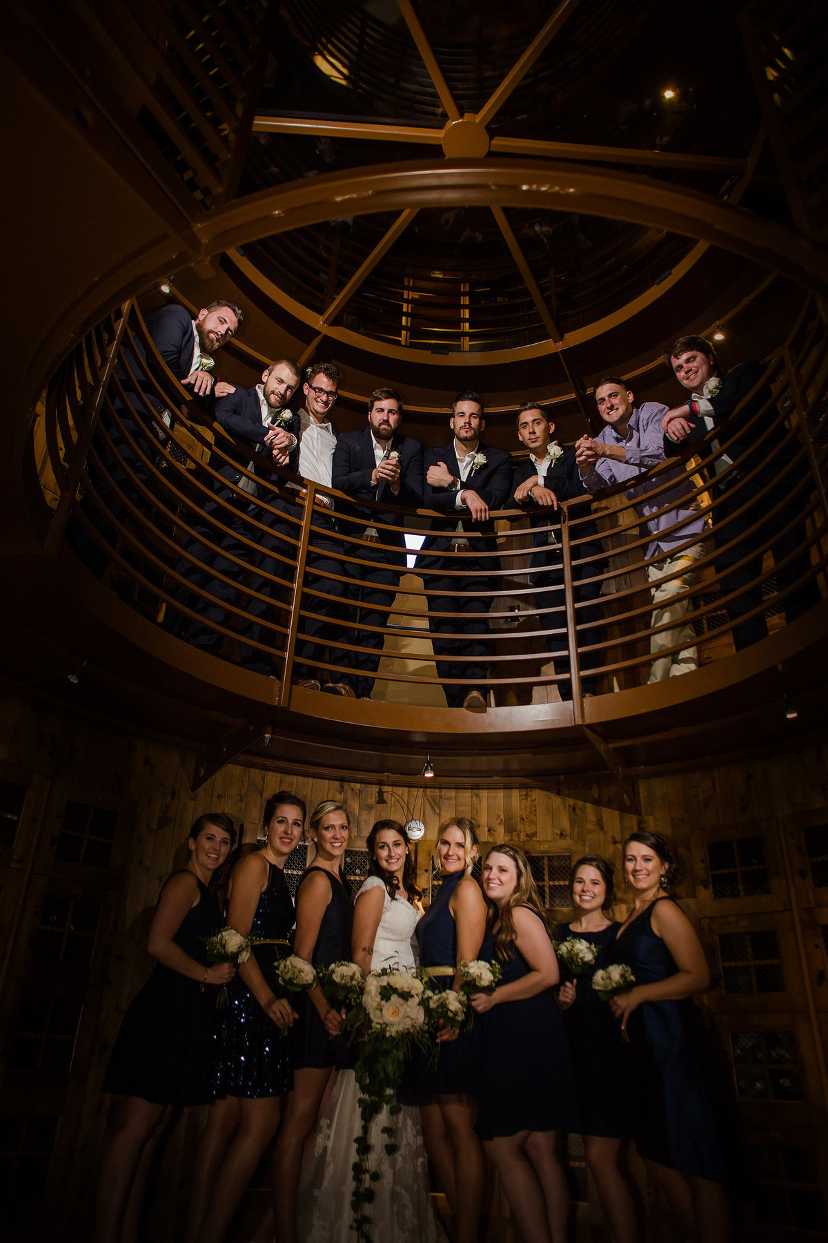 bridal party in wine room flying horse