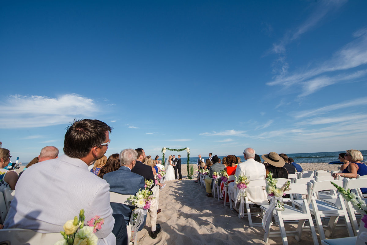 Beach wedding ceremony at westhampton