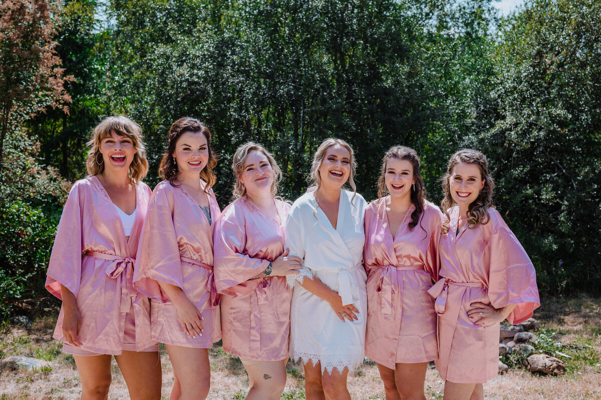 Bridal party in pink robes