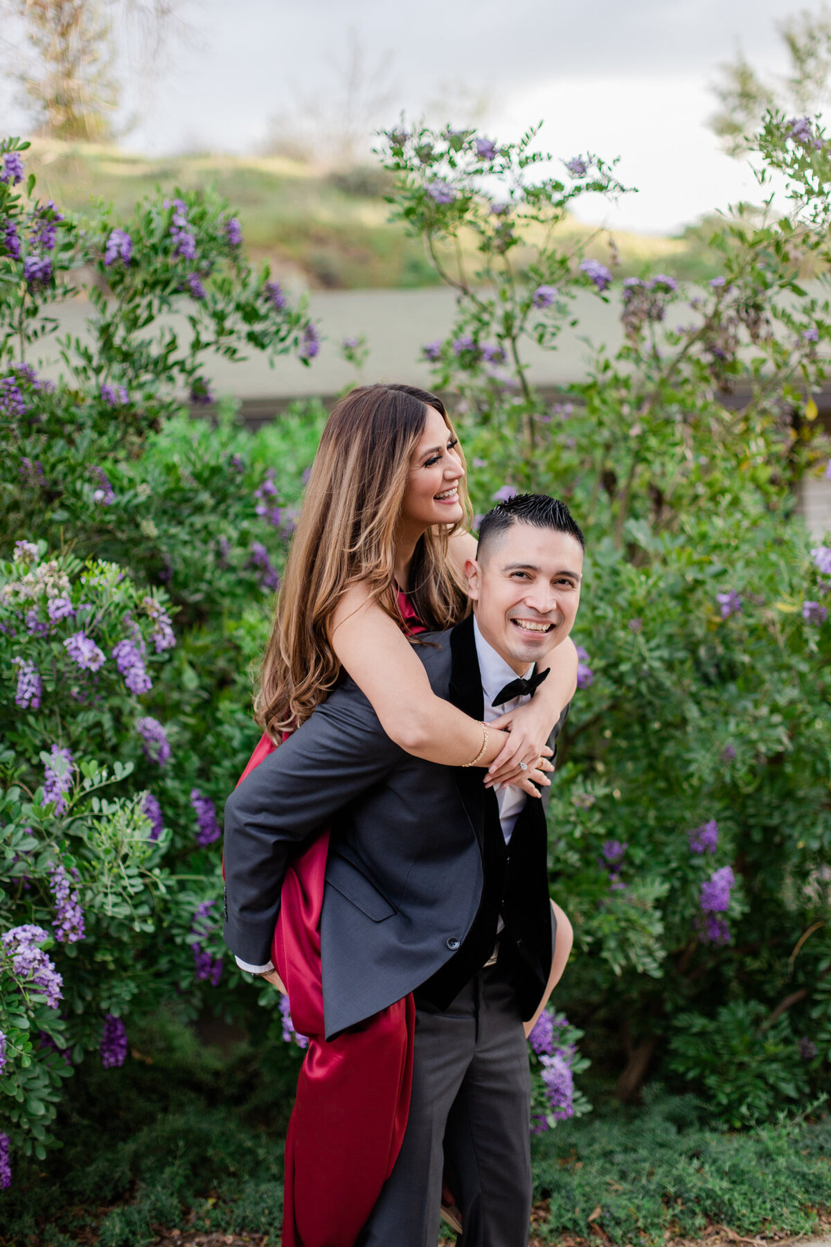 UC Riverside Botanical Gardens, Engagement Photography, Riverside Phototgrapher, Garden Engagement, Couple Photography, Red Dress-96