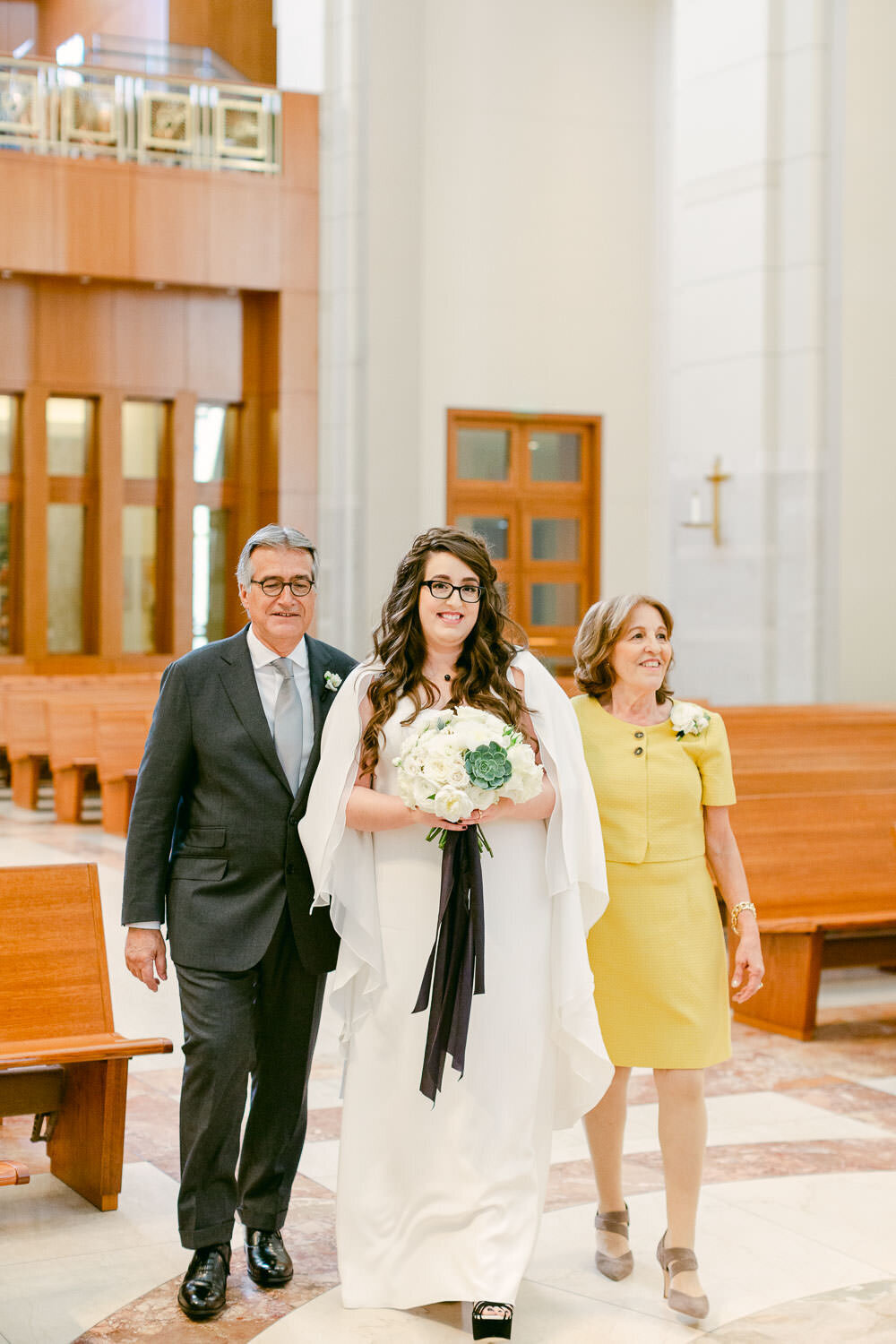 Co-Cathedral of the Sacred Heart Houston, Texas Wedding bride walking aisle
