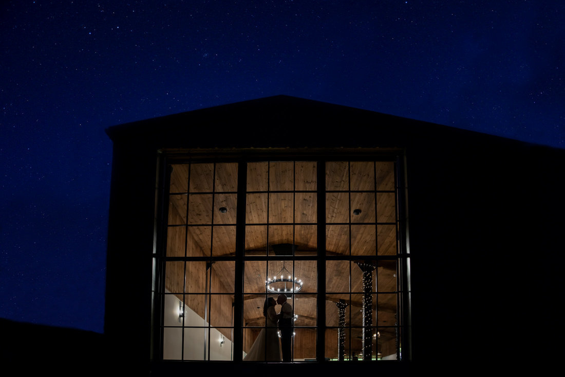 Night time wedding photo of The Stable Barn Upton Barn Cullomptonb