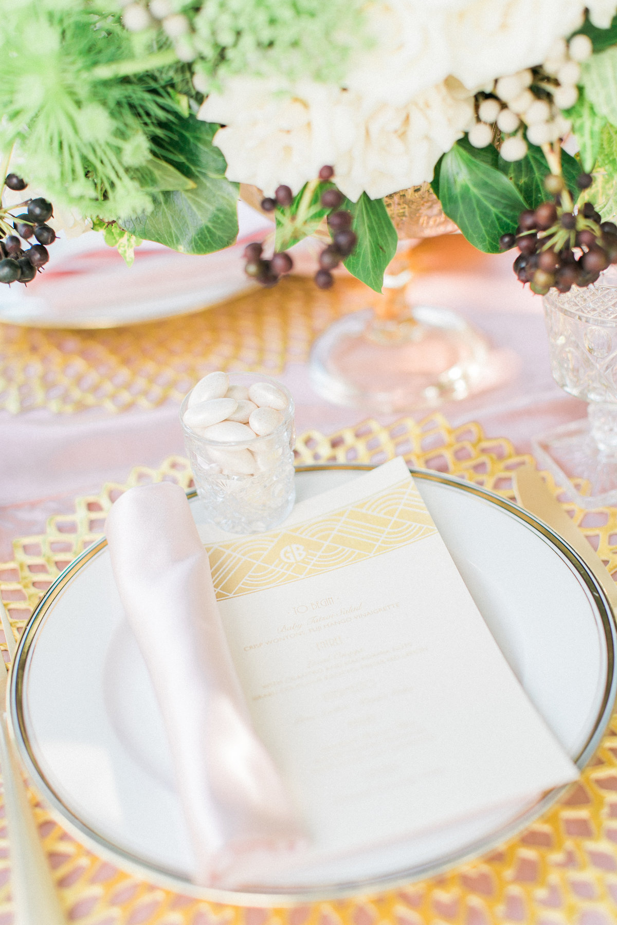 Gold Gilded Gatsby Inspired Table Setting
