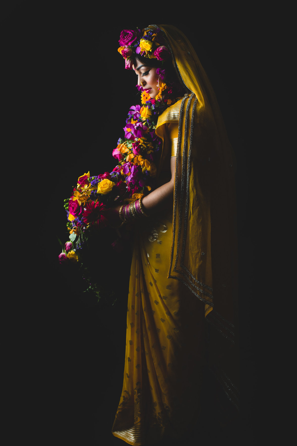 yellow sari indian wedding