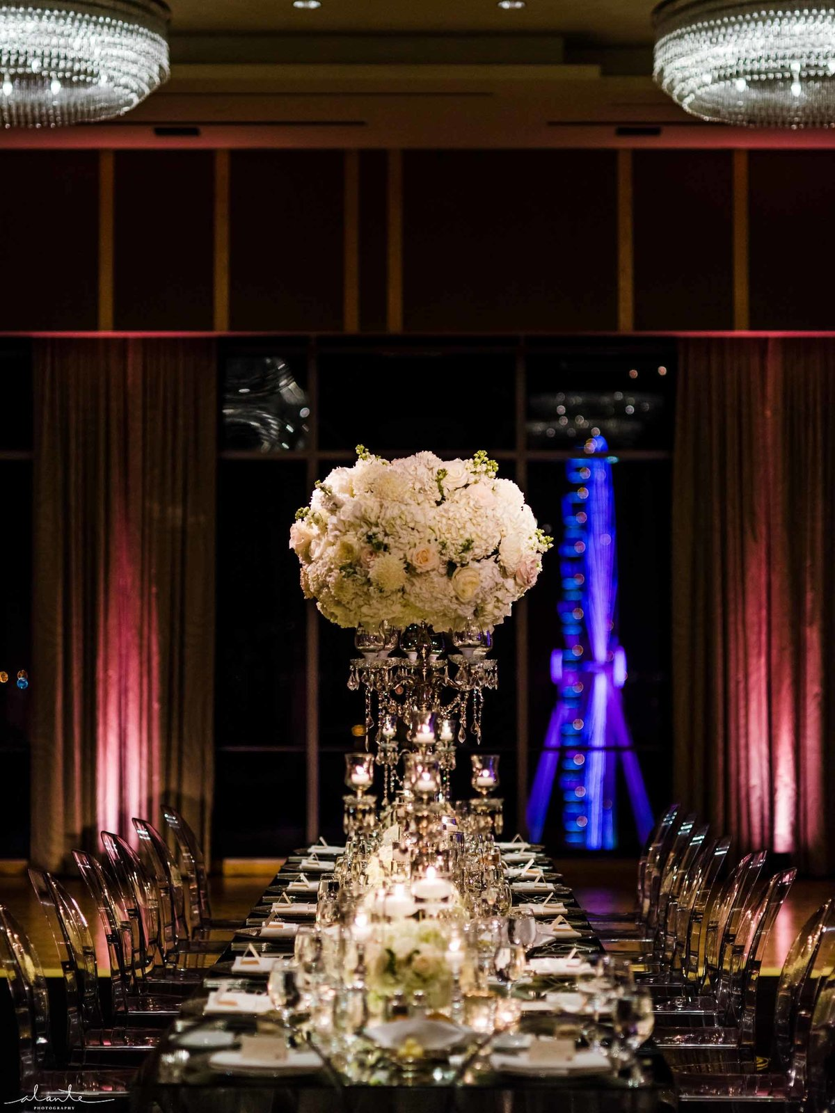 Stunning winter wedding reception at Four Seasons Seattle.