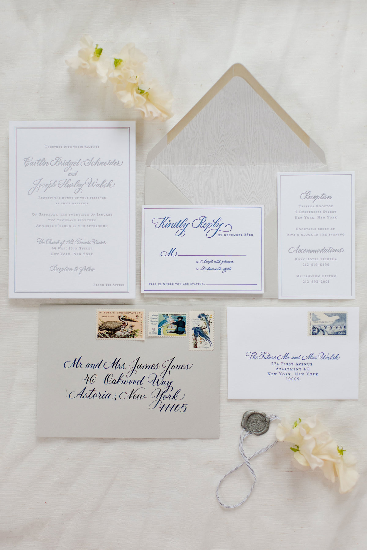 Lewes Lettering co custom wedding suite in blue innk