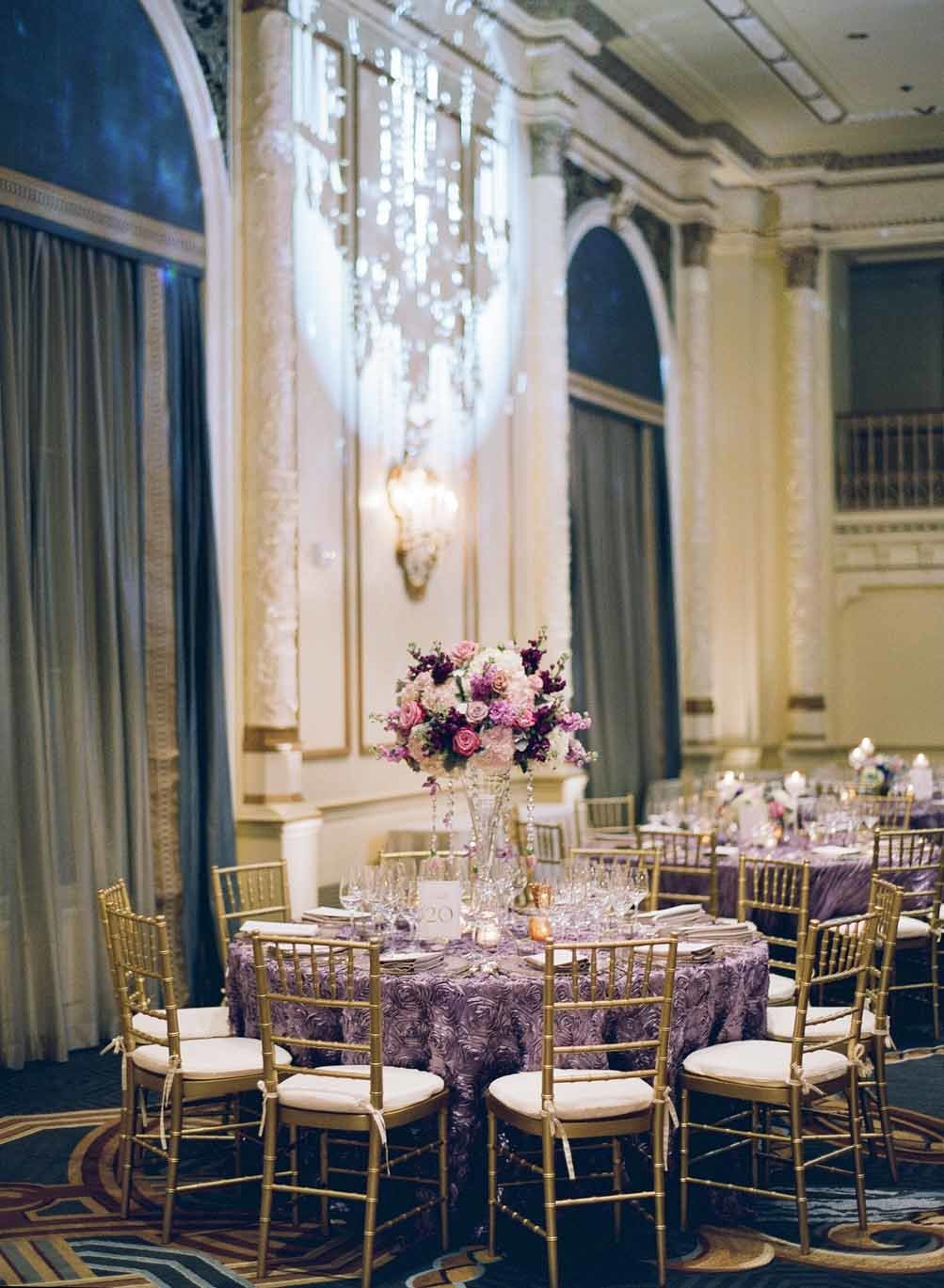 Elegant purple wedding reception at Fairmont Olympic hotel in Seattle.