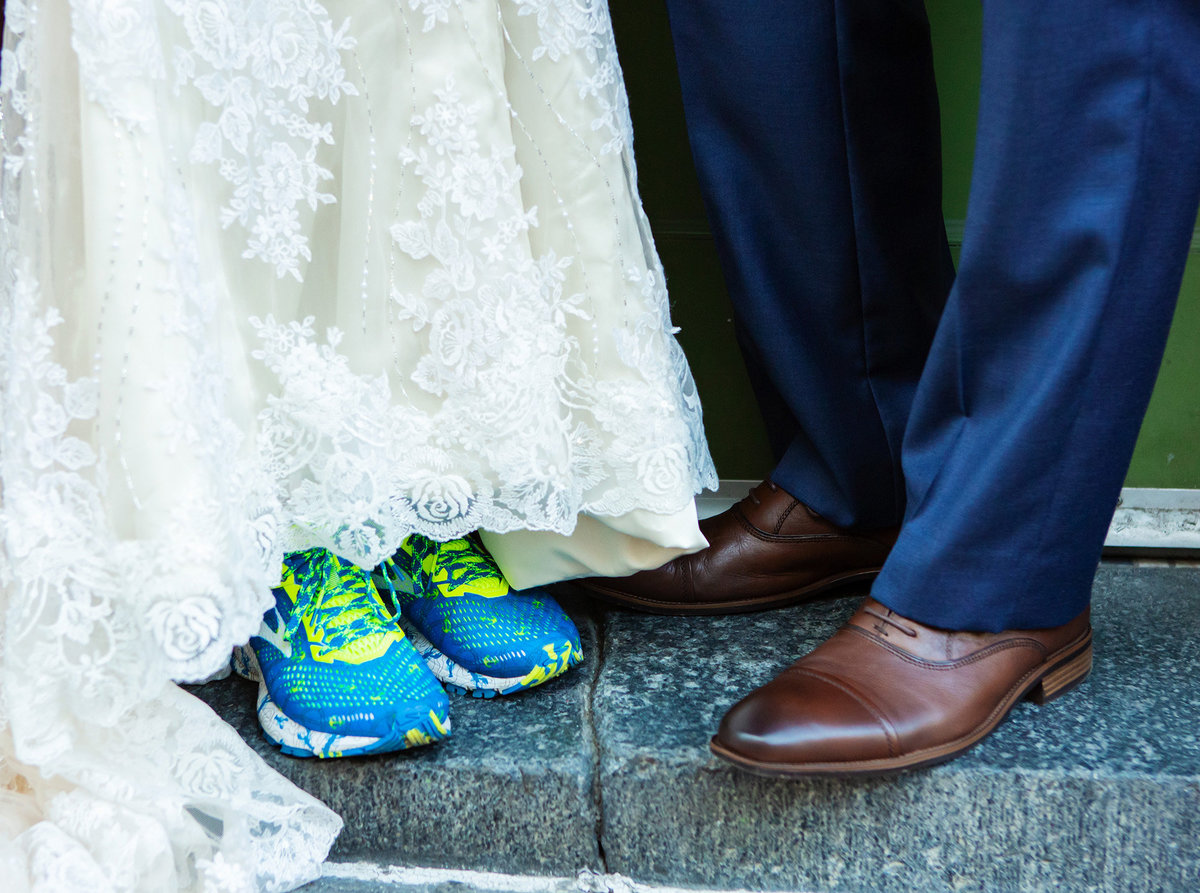 wedding couple shoe shot in the French Quarter