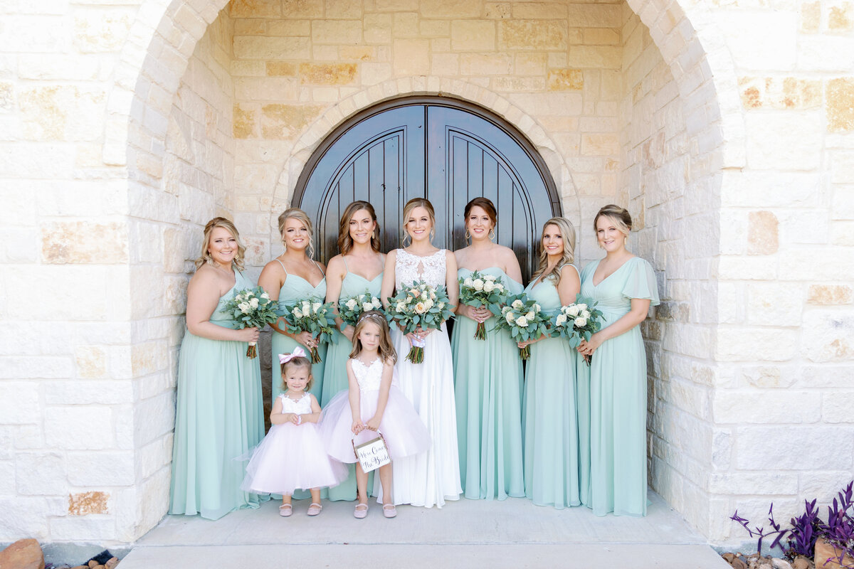 Bridesmaids Posing Together Before Ceremony